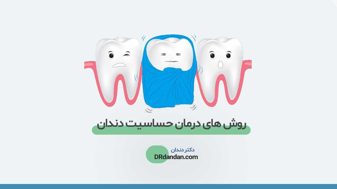 تصویر شاخص مربوط به محتوای حساسیت دندان ها، تصویر شماتیک 3 عدد دندان که دچار حساسیت هستند